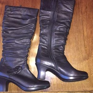 Dansko black leather upper knee high boots